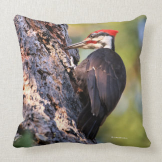 Beautiful Pileated Woodpecker on the Tree Throw Pillow