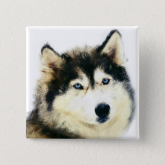 Beautiful Pin Button - Siberian Husky