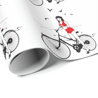 Beautiful pin-up girl on bicycle. Elegant stylish