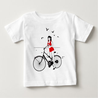 Beautiful pin-up girl on bicycle. Elegant stylish Baby T-Shirt