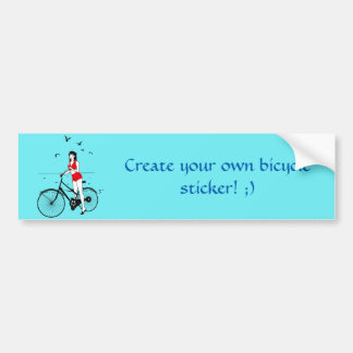 Beautiful pin-up girl on bicycle. Elegant stylish Bumper Sticker