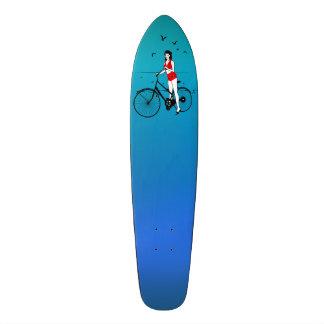 Beautiful pin-up girl on bicycle. Elegant stylish Custom Skate Board