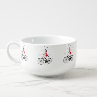 Beautiful pin-up girl on bicycle. Elegant stylish Soup Bowl With Handle