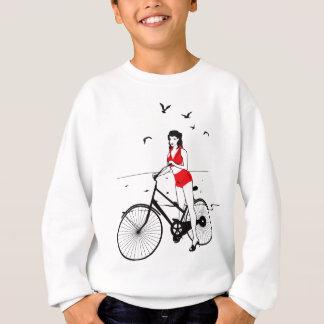 Beautiful pin-up girl on bicycle. Elegant stylish Sweatshirt