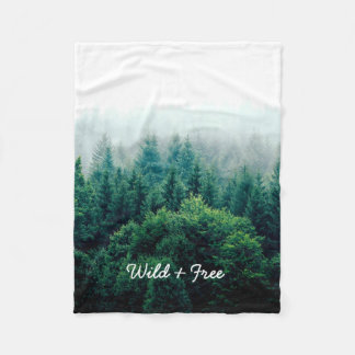 Beautiful Pine Trees Forest Wild and Free Fleece Blanket
