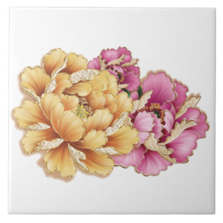 Beautiful Pink and Golden Peony Flowers Tile