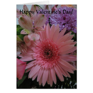 Beautiful Pink and Purple Flowers Valentine's Day Card
