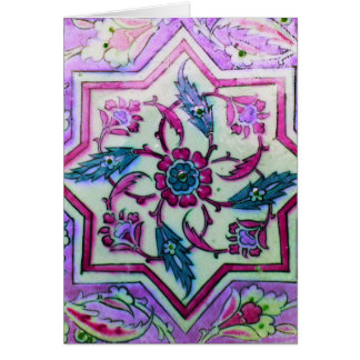 Beautiful Pink and White Tile With hHnts of gGeen Card