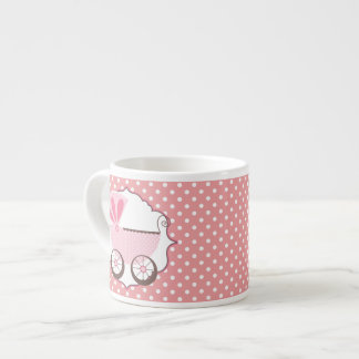 Beautiful Pink Baby Carriage Baby Shower Espresso Cup