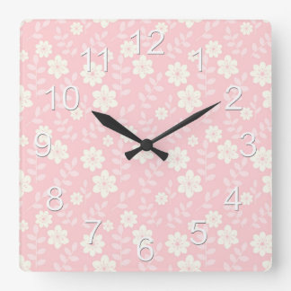 Beautiful Pink Baby Girl Flowers Square Wall Clock