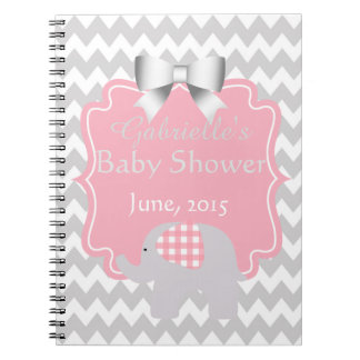 Beautiful Pink Baby Shower Adorable Elephant Notebook