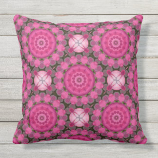 Beautiful pink Blossoms 001 01.2, Nature Mandala Throw Pillow