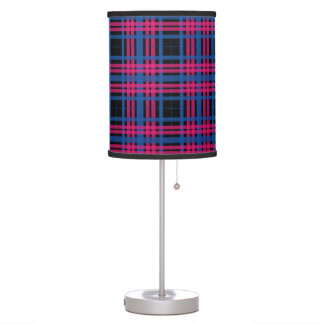 Beautiful Pink & Blue Plaid Pattern Table Lamp