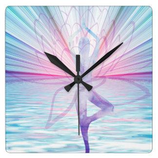 Beautiful Pink & Blue Vrikshasana Yoga Clock