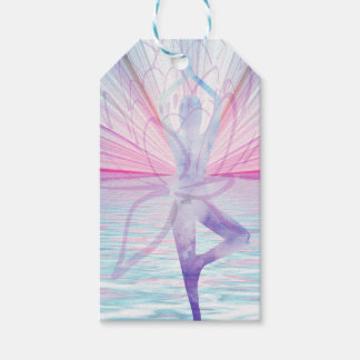 Beautiful Pink & Blue Vrikshasana Yoga Gift Tag
