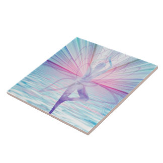 Beautiful Pink & Blue Vrikshasana Yoga Tile