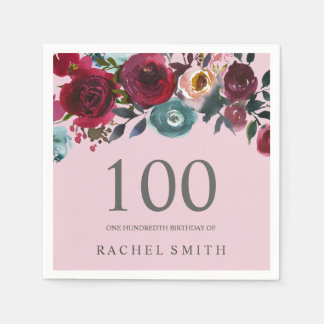 Beautiful Pink Burgundy Floral 100th birthday Paper Napkins