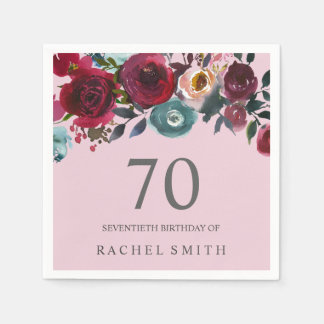 Beautiful Pink Burgundy Floral 70th birthday Party Paper Napkins