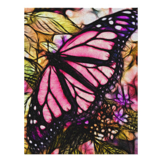Beautiful Pink Butterfly Abstract Letterhead Design
