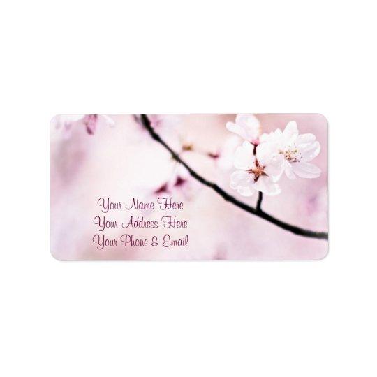 Beautiful Pink Cherry Blossoms White Sunshine Tree Label