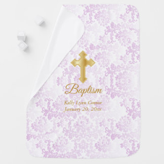 Beautiful Pink Damask Baptism Baby Blanket