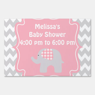 Beautiful Pink Elephant Baby Shower Yard Sign