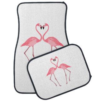 Beautiful Pink Flamingos Love Car Mat
