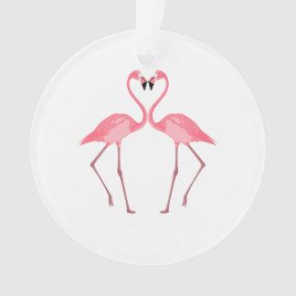 Beautiful Pink Flamingos Love Ornament
