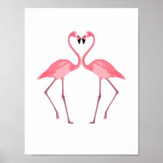 Beautiful Pink Flamingos Love Poster