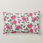 Beautiful pink floral pattern lumbar pillow