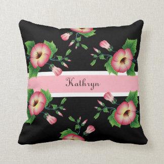 Beautiful Pink Floral Throw Pillow