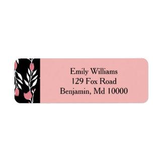 Beautiful Pink Floral Vine Return Address Label