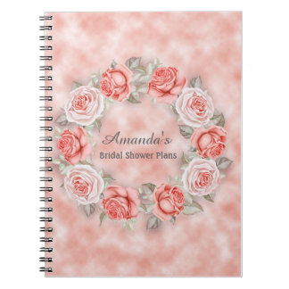 Beautiful Pink Floral Wreath Bridal Shower Plans Notebook