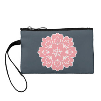 Beautiful Pink Flower Grey Customized clutch Coin Wallets