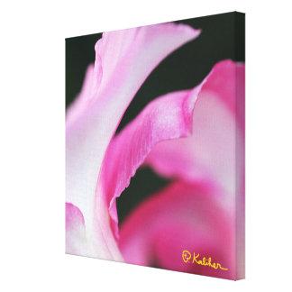 Beautiful pink flower petal work of art on canvas