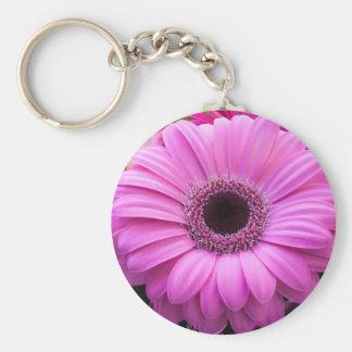 Beautiful pink gerbera flower basic round button keychain