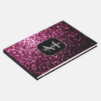 Beautiful Pink glitter sparkles Monogram Guest Book
