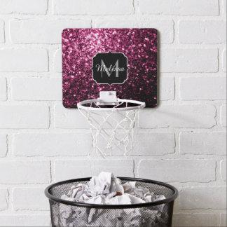 Beautiful Pink glitter sparkles Monogram Mini Basketball Hoop