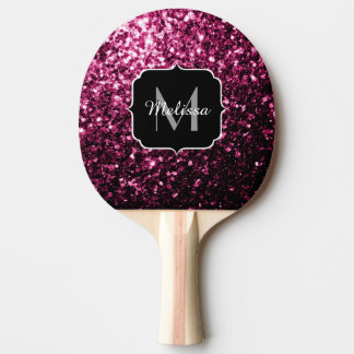 Beautiful Pink glitter sparkles Monogram Ping Pong Paddle