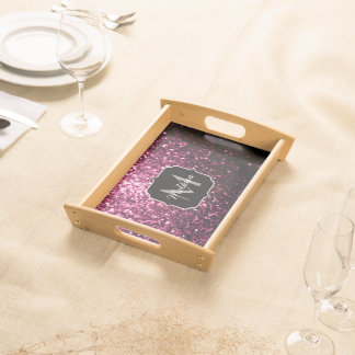 Beautiful Pink glitter sparkles Monogram Serving Tray