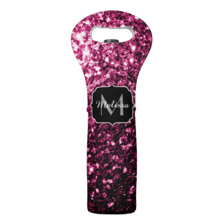 Beautiful Pink glitter sparkles Monogram Wine Bag