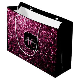 Beautiful Pink glitter sparkles Sweet 16 Large Gift Bag
