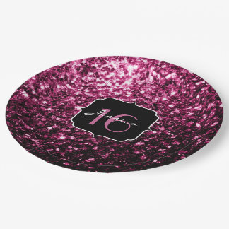 Beautiful Pink glitter sparkles Sweet 16 Paper Plate