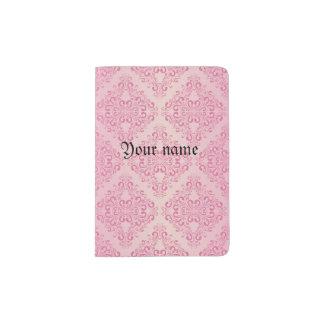 Beautiful,pink,gold,damask,vintage,antique,elegant Passport Holder