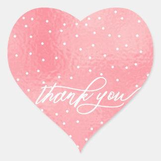 ★ Beautiful Pink  Heart Thank you Heart Sticker