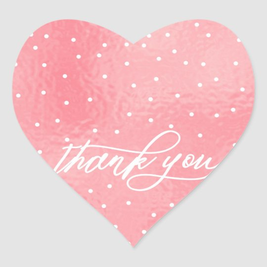 ★ Beautiful Pink  Heart Thank you Heart Sticker
