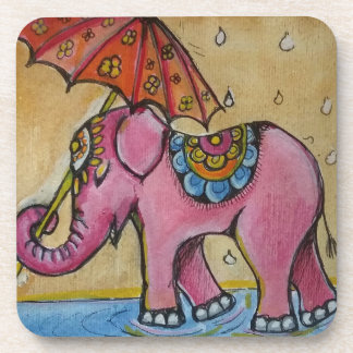 Beautiful Pink indian elephant illustration Coaster