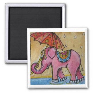 Beautiful Pink indian elephant illustration Magnet