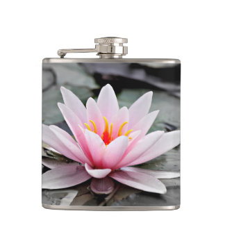 Beautiful Pink Lotus Flower Waterlily Zen Art Hip Flask