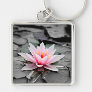 Beautiful Pink Lotus Flower Waterlily Zen Art Keychain